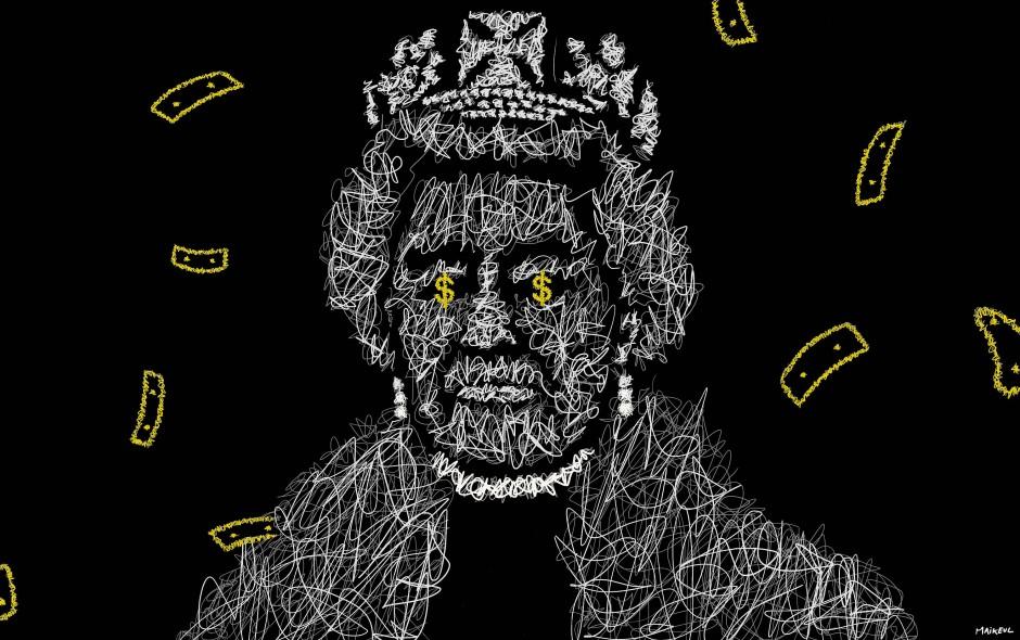 """Schwarzhumorige Banknote aus der Tezos-Blockchain: Der """"Queen"""" (2021) von Maikeul stehen Dollarzeichen in den Augen. Zu ersteigern ist das Porträt als NFT am 20. Mai bei Millon in Brüssel, Taxe 16.000/18.000 Euro."""