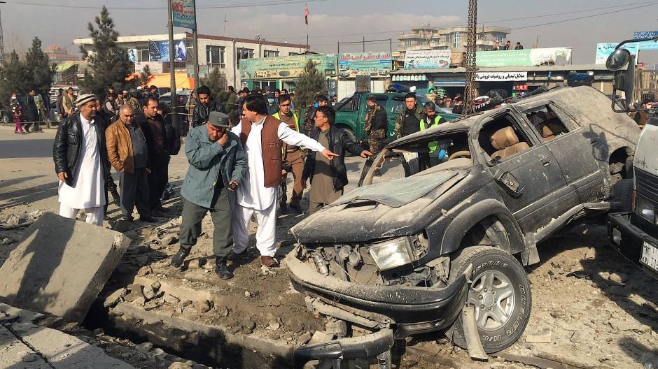 Nach einer Bombenexplosion in Kabul im Dezember 2016