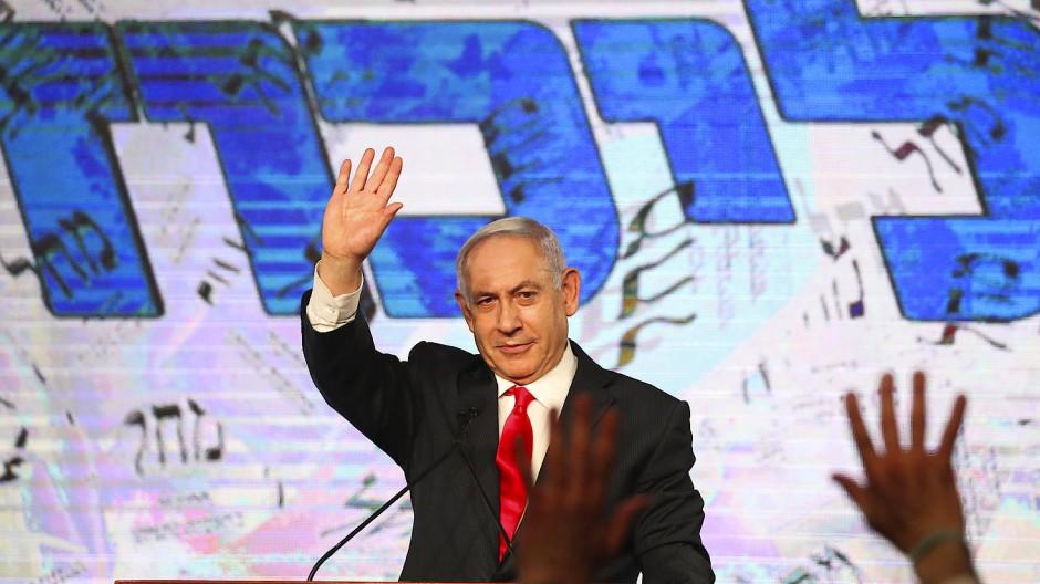 Der israelische Ministerpräsident und Likud-Vorsitzende Benjamin Netanjahu in der Wahlnacht in Jerusalem