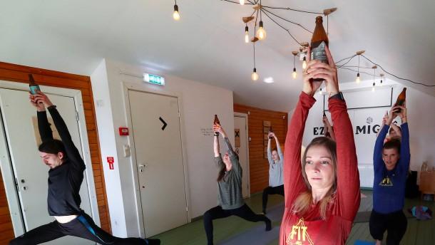 Yoga mit Bier in Riga