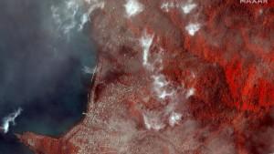 Karibikinsel nach Vulkanausbruch