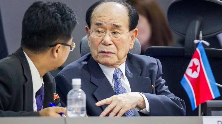 Kim Yong-nam (rechts), das freundliche Gesicht des Regimes