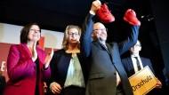 """Parteitag in """"Oschulz"""": SPD-Spitzenkandidatin Rehlinger neben Martin Schulz"""