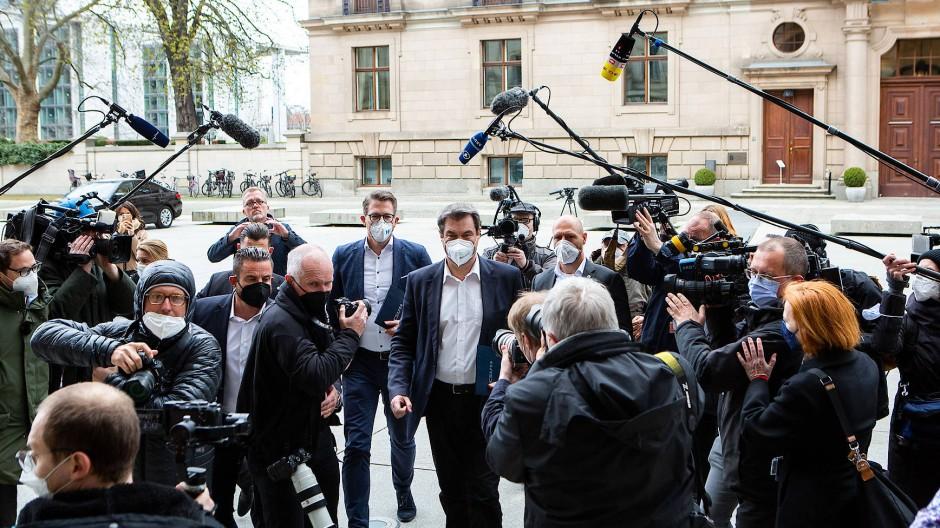 Der bayerische Ministerpräsident Markus Söder (CSU) am Dienstag auf dem Weg zur Fraktionssitzung der Union