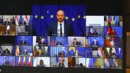 EU-Ratspräsident Charles Michel (Mitte, oben) in einer Videoschalte mit den Regierungschefs der EU-Staaten am Donnerstag