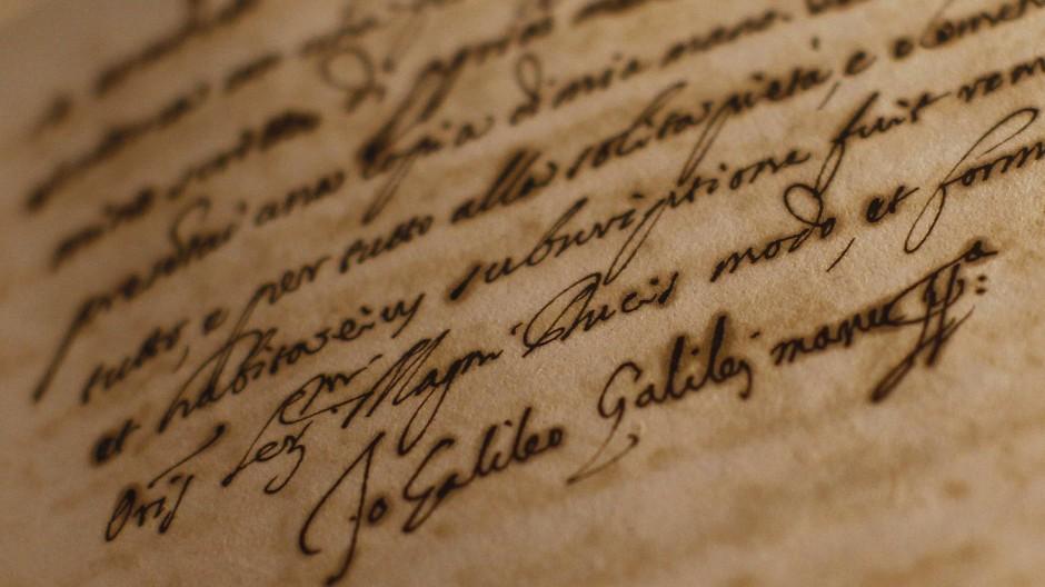 Ganz authentisch: Die Unterschrift von Galileo Galilei