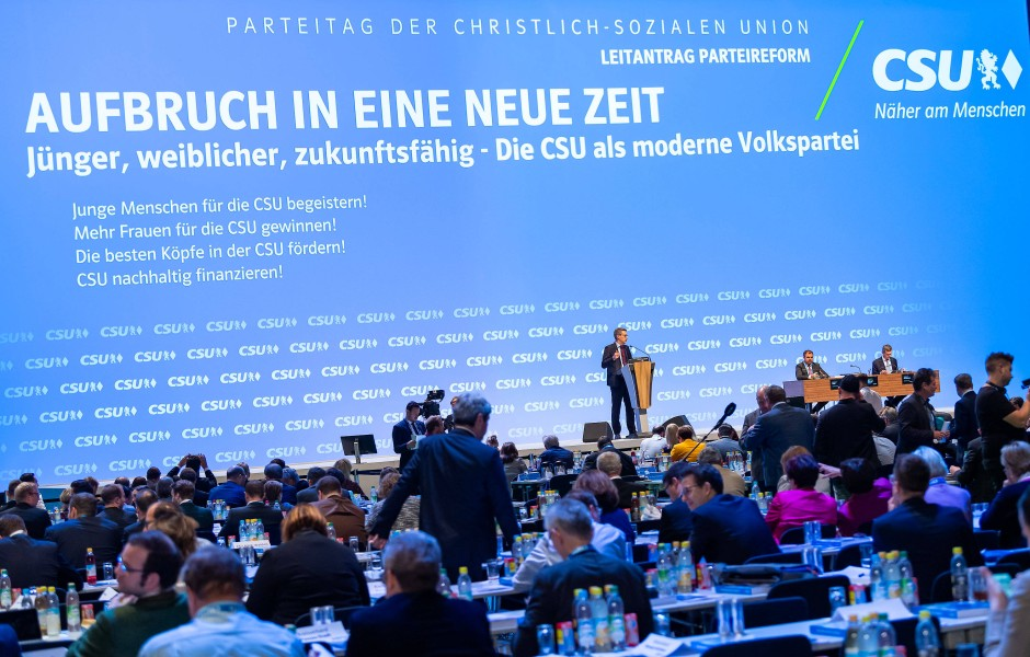 Der CSU-Parteitag findet in der Großen Münchner Olympiahalle statt.