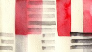 Die New Yorker Künstlerin Leanne Shapton hat für uns Grafiken nach Bauhaus-Muster entworfen. Hier die Studie eines Stoff-Entwurfs von Anni Albers.