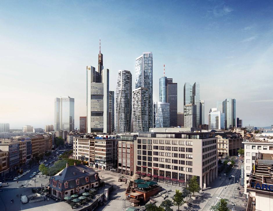 Eigenheim in luftiger Höhe: In Frankfurt entstehen zahlreiche Wohnungen in Hochhäusern.