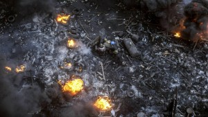 Schreckensszenen auf kohlschwarzem Schlachtfeld