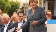 Angela Merkel am Tag vor der Landtagswahl – in Bad Doberan, Mecklenburg-Vorpommern