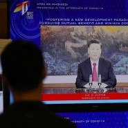 Sieht sich als Verteidiger des offenen Welthandels: Chinas Präsident Xi Jinping auf dem virtuellen Gipfel der Apec-Staaten.