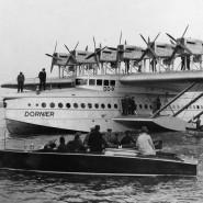 """Weltweit das größte Luftschiff seiner Zeit: Das deutsche Schwimmflugzeug Dornier """"Do X""""."""