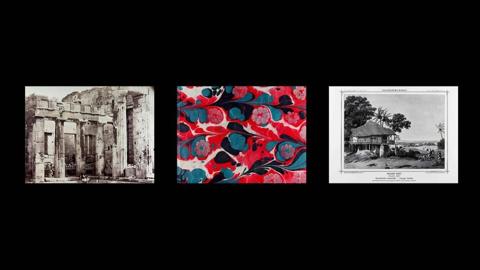 """In einem ordentlichen Bilderatlas finden sich auch Vorsatzpapiere als Scharnier zwischen Pathosformeln: Marcel Odenbachs """"Verzettelungen""""."""