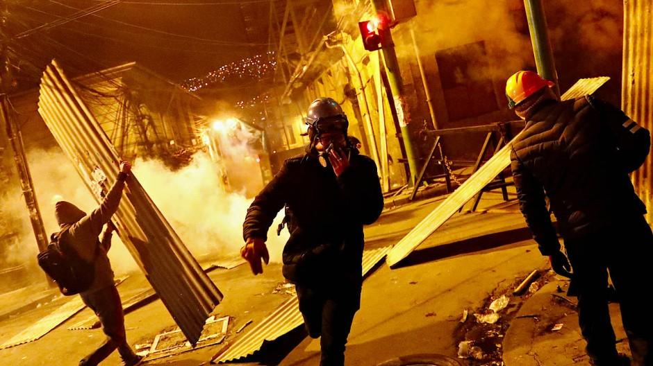 Kampfbereit: Demonstranten in Boliviens Hauptstadt La Paz