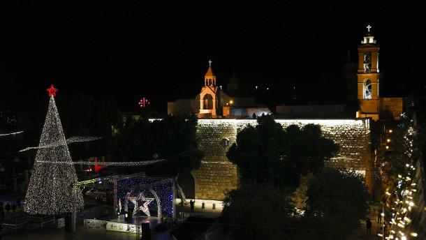 Weihnachtsbeleuchtung in Bethlehem angeknipst