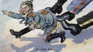 Auf sein Friedensangebot bekam Wilhelm II. von den Alliierten eine unmissverständliche Antwort. (Französische Karikatur von 1914).