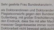 Offener Brief gegen Guttenberg