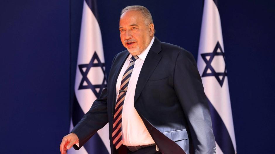 Avigdor Lieberman in der Residenz des Präsidenten in Jerusalem