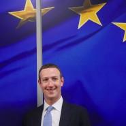 Facebook-Chef Mark Zuckerberg am Montag in Brüssel bei einem Treffen mit EU-Kommissarin Vera Jourova