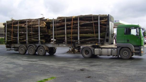 Holzlaster mit 17.000 Kilo zu viel beladen