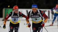 Das deutsche Duo wurde Zweiter auf Schalke: Franziska Hildebrand und Erik Lesser