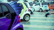 Die Smarts in China sind oft so bunt und schrill dekoriert wie ihre meist weiblichen Fahrer.