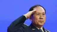 Chinas Verteidigungsminister General Wei Fenghe am Sonntag auf dem Shangri-La-Dialog in Singapur.