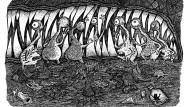Wie kriegen wir ihn da nur wieder raus? Der im Drachenmaul gefangene Buchling Hildegunst von Mythenmetz kann auf seine Freunde zählen.