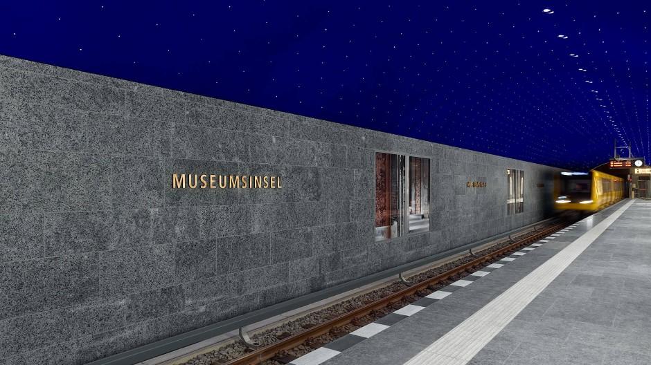 Unendlich blau: Das Ultramarin des Sternhimmels erinnert an die Nacht in den Bergen, die Bilder an den Wänden an Schinkels Werke in der Stadt.
