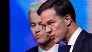 Unversöhnlich: Geert Wilders und Mark Rutte beim Fernsehduell am Montagabend