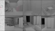 """Rekonstruktionen des Attentats auf """"NSU Watch"""": oben Position und Innenraum der Synagoge, unten des """"Kiez Döner"""""""