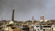 Wahrzeichen: Noch vor wenigen Wochen erhob sich das schiefe Minarett der Al-Nuri-Moschee in Mossul.
