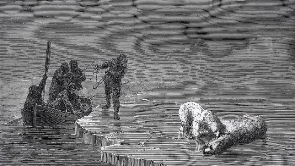 Polarexpedition im 19. Jahrhundert: Auf ihren Reisen jagten die europäischen Forscher auch Eisbären.