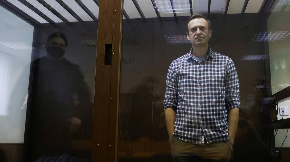 Oppositionsführer Alexej Nawalnyj am 20. Februar vor einem Moskauer Gericht