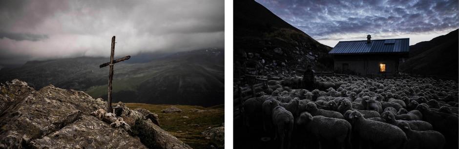 An einem Gipfelkreuz liegen Schafsschädel (links). Meme führt seine Schafe in der Dämmerung zusammen (rechts).