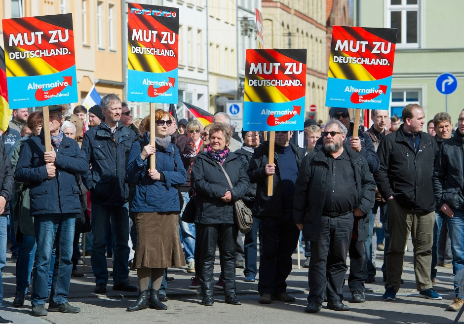 Anh Nger Der Afd Demonstrieren In Stralsund