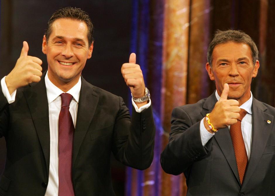 Populisten von rechts: Heinz-Christian Strache (l.) und der verstorbene Jörg Haider Ende September 2008 in Wien