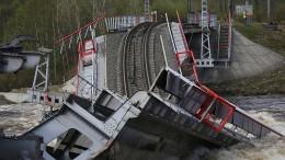 Wichtige Eisenbahnbrücke in Russland stürzt ein