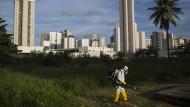 Ein städtischer Mitarbeiter versprüht in der Stadt Recife ein Insektizid.