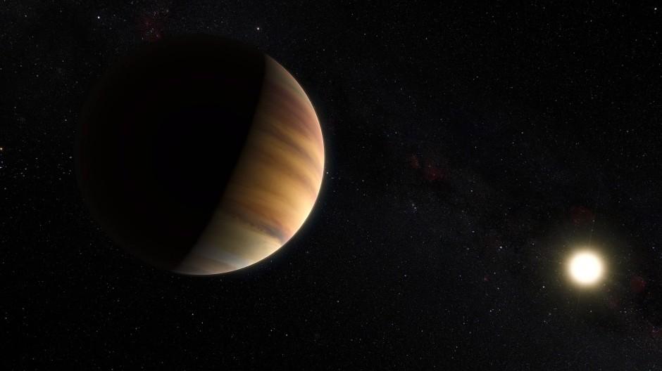 Künstlerische Darstellung des 1995 entdeckten Exoplaneten 51 Pegasi b