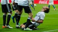 Jubelt Adidas bald über neuen Vertrag – so wie hier Fußball-Nationalspieler Mario Götze über sein Tor?