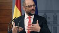 SPD-Politiker Martin Schulz vor dem Sprung