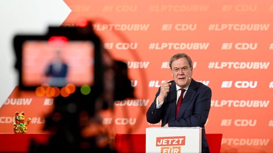 Gegen rot-rot-grünes Bündnis: Der CDU-Vorsitzende Armin Laschet spricht beim digitalen Landesparteitag der CDU Baden-Württemberg am 8. Mai.