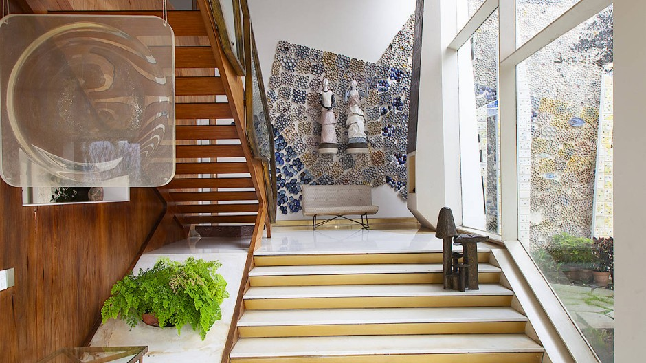 Eigens für die Villa Planchart entworfen: Wände mit Mosaiken aus Steinen und Fliesen