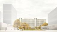 Der Siegerentwurf des Wettbewerbs sieht im Norden drei scheibenförmige Neubauten vor.