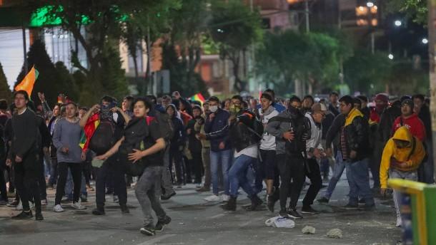 Proteste gegen Präsident Morales