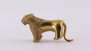 Der goldene Löwe brüllt auf dem Geldschein