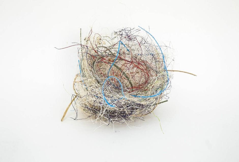"""Kultivierte Natur: """"Ohne Titel (Zebrafinken-Nest)"""", von einem Vogel mit vom Künstler Björn Braun bereitgestellten Materialien gewirkt"""
