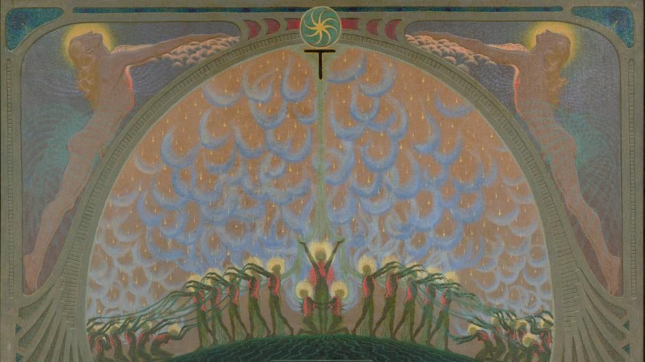 """Fidus: """"Im Tempel der Ausgießung"""" (1911/1947), Öl/Tempera auf Hartfaserplatte, 118,7 mal 188,45 Zentimeter"""